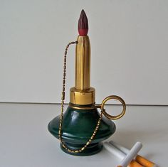 Vintage Cigarette Lighter Brass Candle Stick by cynthiasattic, $75.00