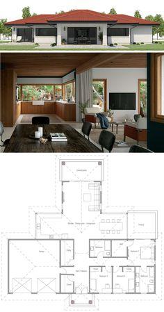 15 Ideas house plans modern single story dream homes for 2019 Free House Plans, Family House Plans, Modern House Plans, Small House Plans, Bungalow House Plans, Bungalow House Design, Small House Design, Modern House Design, Home Design Floor Plans