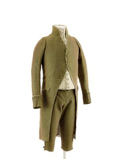 Men's suit, consisting of coat, breeches and vest, made of green-brown velvet and white silk, with embroidered vest in white silk, France, around 1790.