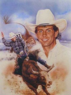 Western Art of Lane Frost. Rodeo Cowboys, Real Cowboys, Cowboy Art, Cowboy And Cowgirl, Baby Animals, Funny Animals, Baby Elephants, Baby Cows, Wild Animals