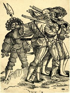 1525-1540. Print made by: Nikolaus Stör.Three lansquenets escorting a wounded soldier; walking to right, the soldiers wearing hats and carrying muskets over their shoulder; the injured man without hat and with torn uniform; the lansquenet furthest to left seen from behind and looking to left where a captain carrying a halberd is standing in background. Possibly part of a series of marching soldiers, although it does not form part of the series of six sheets in Munich.