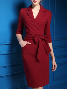 Back Slit Notch Collar Wine Red Pocket Dress Midi Dress With Sleeves, Dress Skirt, Wrap Dress, Slit Dress, Cute Dresses, Beautiful Dresses, Dresses For Work, Prom Dresses, Office Fashion