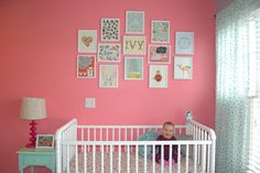 Have a bare wall to fill? Create a fun gallery wall that can bring out the theme or personality of your nursery! We love these prints from Lucy Darling Shop. #Nesting