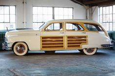 1950 Packard Woody Wagon in the Repair Garage building at the Packard Proving Grounds Historic Site in Shelby Twp, MI