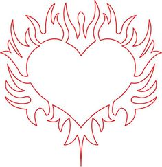 Cool flaming heart ouline/stencil