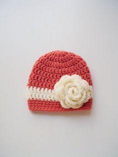 Crochet newborn hat baby girl beanie Pregnancy reveal announcement children crochet coral cream rose flower shower hospital gift hand made