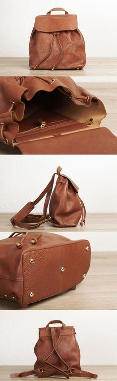 Drawstring backpack leather, leather drawstring bag, school backpack, boho…