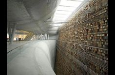 The 'wall of knowledge' at a Stockholm public library