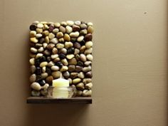 Beautiful DIY Stone Shelf - 9 Amazing DIY Sconces ... (projects, crafts, do it yourself, interior design, home decor, fun, creative, uses, use, ideas, inspiration, 3R's, reduce, reuse, recycle, used, upcycle, repurpose, handmade, homemade)