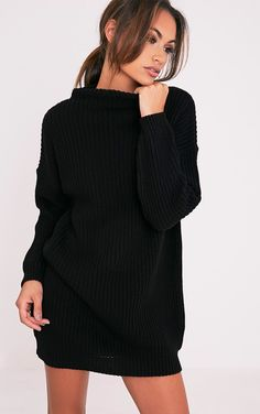 Black Oversized Cable Knit Dress Keep super cosy in this oversized dress as the weather gets cool...