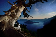 Starry night over Crater Lake, Oregon