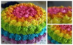 Neon Rainbow Rosette Cake Test Cake Even With The Wrong Tip I Do Really Like How It Turned Out The Inside Is Rainbow Colors Alsowith - CakeCentral.com