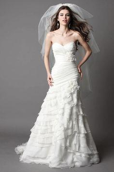Vestido de noiva Várias Camadas Sem cintura Cauda Médio Chifon