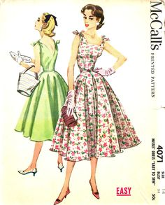 Vintage Sewing Pattern Dress McCalls 4071