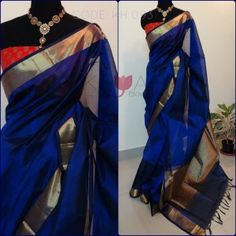 *SOLD* A vibrant silk cotton bavanchi border saree red brocade blouse! Blue Silk Saree, Cotton Saree, Royal Blue Saree, Red Saree, Indian Attire, Indian Ethnic Wear, Traditional Sarees, Traditional Outfits, Indian Dresses
