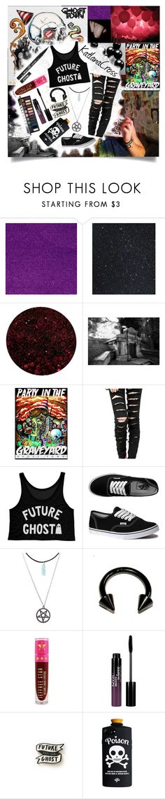 """""""Party In The Graveyard"""" by katlanacross ❤ liked on Polyvore featuring Deborah Lippmann, Vans, Hot Topic, Kat Von D, Jeffree Star, NYX and Humör"""
