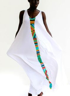 White with band of colour. shopcaribbeanfashion by Mutumba.