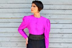 Purple fuchsia bolero with covered buttons and by RoaringRetro, $32.00
