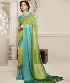 Buy Green Georgette Printed Saree With Blouse 75126 with blouse online at lowest…