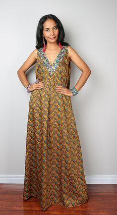 Summer Dress / Paisley Dress / Boho Cotton Floral Dress by Nuichan