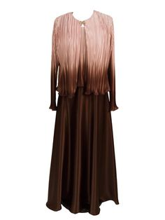 This versatile modest ombre satin dress features a scoop neck sleeveless tank bodice with a matching long sleeve jacket. Drop waist with a mid zip back and long A-line skirt. A flattering and comfortable gown. Shown in Chocolate.