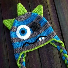 crochet boy monster hat, really cute, lined in fleece would make it better for our winters