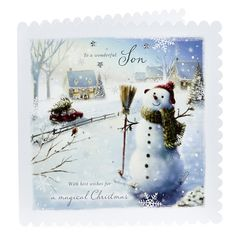 Exquisite Collection Christmas Card - Wonderful Son, Snowman | Card Factory