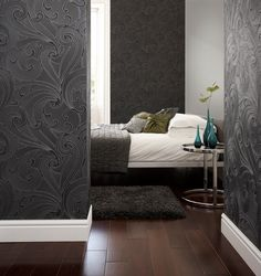Saville Black Wallpaper by Graham and Brown