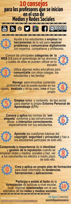 Redes Sociales en Internet - 10 Consejos para los Docentes | #Infografía #Educación