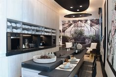 "Casa FOA 2016 - Longvie en el Espacio 17 Cocina ""Lo de Jimena"" Arq Caia Gibrat y Carolina Gibrat Ceiling Lights, Lighting, Table, Furniture, Home Decor, Home, Space, Cooking, Decoration Home"