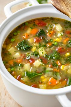 This healthy, comforting, and richly flavorful vegetable soup is coziness in a bowl, and ready in about 20 minutes! | thecozyapron.com #vegetablesoup #vegetablesouprecipe #vegetablesouphealthy #vegetablesoupvegetarian