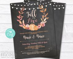 Engagement Party Invitation Fall in Love INSTANT DOWNLOAD Autumn Couple's Shower Pumpkin Rustic Party Personalize Editable Printable WCWE051 Printing Websites, Printing Services, Online Printing, Engagement Party Invitations, Couple Shower, Wow Products, Text Color, Party Printables, Falling In Love