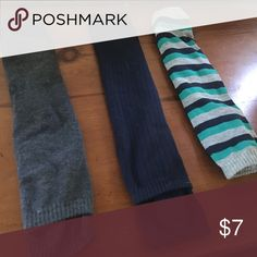 Three pack of leg warmers never worn. Three pairs one stripe one navy one dark grey. Thinner cotton Other