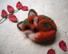Hey, I found this really awesome Etsy listing at https://www.etsy.com/listing/464636035/needle-felted-sleepy-red-fox-brooch