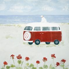 Red Camper (W277) Beach & Coastal Greetings Card by Hannah Cole http://www.thewhistlefish.com/product/w277-red-camper-art-greeting-card-by-hannah-cole