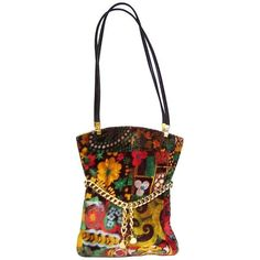 Preowned Mod 1960's Harry Rosenfeld Floral Velvet Handbag With Gold... ($395) ❤ liked on Polyvore featuring bags, handbags, multiple, evening purses, white purse, hand bags, evening handbags and vintage handbags purses