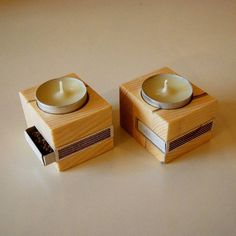 Handmade tealight twin candle holders Made of pinewood Made by candle holder Tea Candle Holders, Wooden Candle Holders, Tea Candles, Tea Light Holder, Scented Candles, Handmade Candle Holders, Wood Projects, Woodworking Projects, Objet Deco Design
