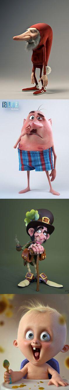 Personajes en 3D divertidos.