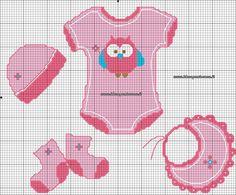 schema vestitini bimba Cross Stitch Baby, Cross Stitch Charts, Cross Stitch Patterns, Cross Stitching, Cross Stitch Embroidery, Welcome Baby Girls, Baby F, Animal Science, English Fun