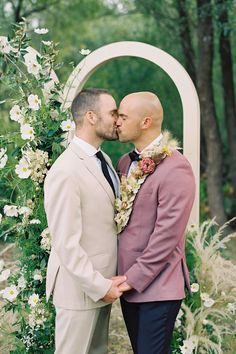 """From the editorial """"Modern Farmhouse Wedding Inspiration Complete With a Vintage Truck Abounding in Blooms."""" These handsome grooms celebrated their love on the most beautiful California day with chic details, exquisite florals, and eclectic decor we know you'll be obsessing over! 