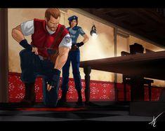 "Resident Evil 1996 by Scribbletati ""I hope this is not Chris' blood."" -Barry Burton"