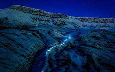 Light trail on Mt Esja, Reykjavik, Iceland