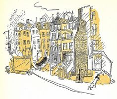 Black and white drawing with shade of blue (instead of yellow).  Ludwig Bemelmans
