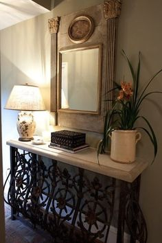 That Entry Hall Table Is Made Out Of A Balcony Iron Railing. Love The Pot