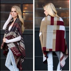 SALE TODAY!❤️BEAUTIFUL COLOR-BLOCK PONCHO! ❤️ Multi-Color Poncho, Perfect for Chilly Fall Winter Days. Sweaters Shrugs & Ponchos