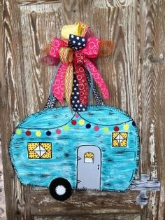 This detailed Camper Door Hanger is perfect for any camper or home! Dimensions: 24 in. Width 34 in. Wooden Door Signs, Wooden Door Hangers, Painted Wood Signs, Burlap Cross Wreath, Entry Doors With Glass, Glass Doors, Burlap Door Hangings, Wood Crafts, Diy Crafts