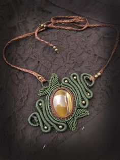Woodlands spiral macrame necklace with tiger by AbstractikaCrafts, £37.00