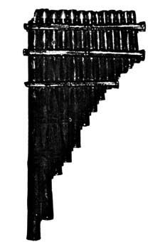 BAMBOO PANPIPE Found in the tomb of Zuo Boyang.  Made of thirteen bamboo pipes, is about nine inches long.