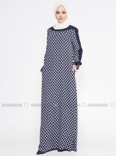 eca6c6f7e01 Navy Blue - Multi - Crew neck - Unlined - Dress Muslim Fashion