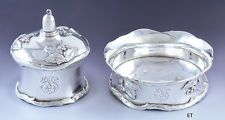 c1895 Fabulous Sterling Silver Holly Design Smoking Set Table Lighter & Ashtray